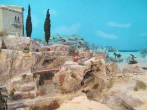 Presepe di Traversagna - Scorcio del paesaggio con arco sul mare